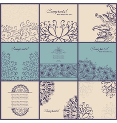 Set of vintage congrats cards with lace ornament vector