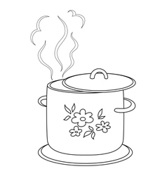 Boiling pan with pattern contours vector