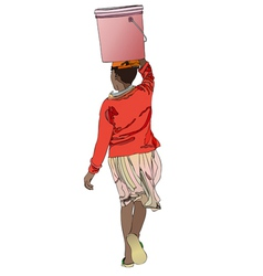 Woman with bucket of water on his head vector