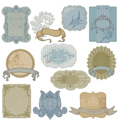 Vintage set of labels and tags vector