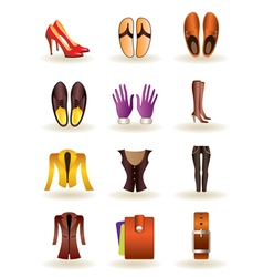 Clothing and footwear of leather vector