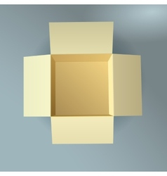 Open cardboard box corrugated top view with soft vector