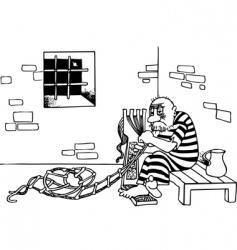 Prisoner escapes from jail vector