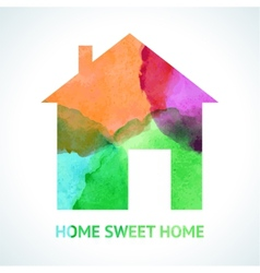Watercolour sweet home icon on white background vector
