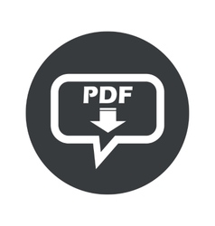 Round pdf download dialog icon vector