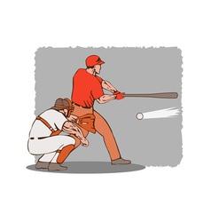 Baseball player batter catcher vector