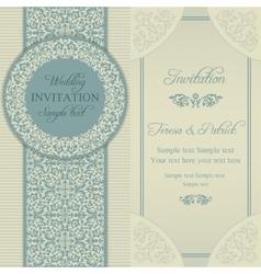 Baroque wedding invitation blue and beige vector