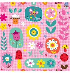 Cute flowers mushrooms nature pattern vector