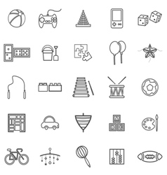 Toy line icons on white background vector