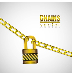 Gold chains attached by a padlock vector
