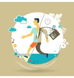 Businessman escapes from work to rest vector