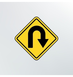 Hairpin curve warning icon vector