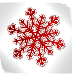 Red paper snowflacke over blank sticker vector