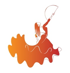 Silhouette flamenco dancer expressive pose vector