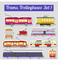Set of elements trams and trolleybuses for vector