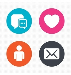 Social media icons chat speech bubble and mail vector