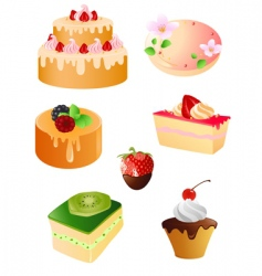 Set of sweet dessert icons vector