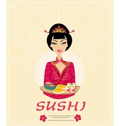 Beautiful asian girl enjoy sushi - card vector