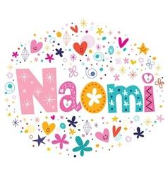 Naomi female name design decorative lettering type vector