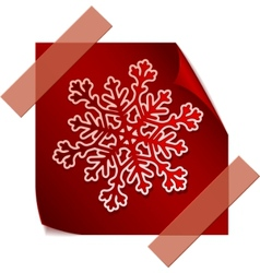 Red paper snowflake over red sticker vector