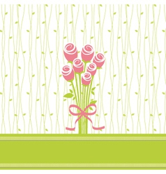 Greeting card with rose flowers vector