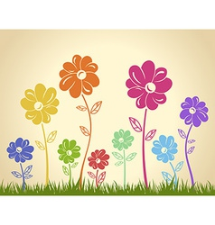 Colorful flowers on the grass background green vector