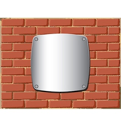 Metal shield on the brick wall vector