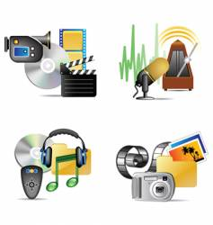 Set of multimedia internet icon vector