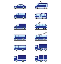 Road and railways transportations icons set vector