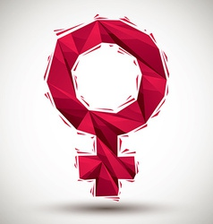 Red female sign geometric icon made in 3d modern vector