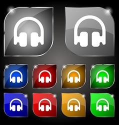 Headphones earphones icon sign set of ten colorful vector
