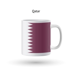 Qatar flag souvenir mug on white background vector