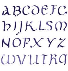 Hand drawn letters retro alphabet blue ink vector