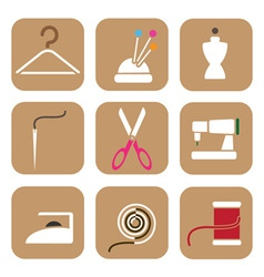 Tailor icons vector