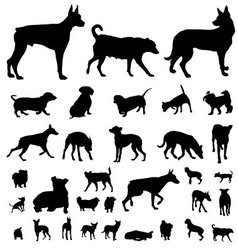 Dog silhouette set vector
