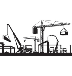 Industrial construction scene vector