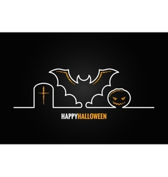 Halloween pumpkin bat design background vector