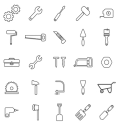 Tool line icons on white background vector