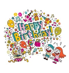 Happy birthday kids card vector