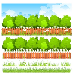 Green trees with grass and fence vector