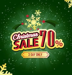 Christmas sale 70 percent typographic background vector