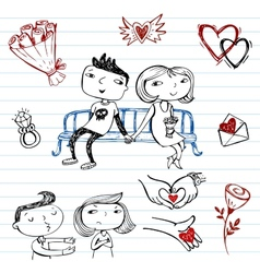 Dating set of doodles on a love theme vector