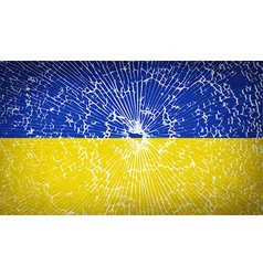 Flags ukraine with broken glass texture vector