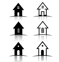 Set of 6 house icons vector