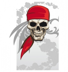 Pirate skull with bandanna vector