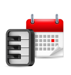 Piano and calendar icon vector
