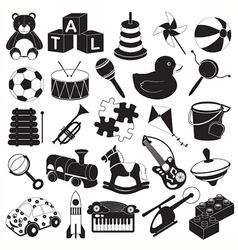 Children toys icon set vector