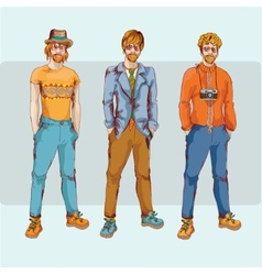 Hipster boy character set vector