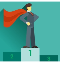 Super businessman standing on the top of the graph vector