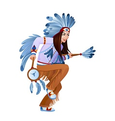 Ethnic dance of cartoon injun vector